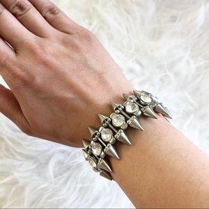 Spiky Jeweled Silver Bracelet